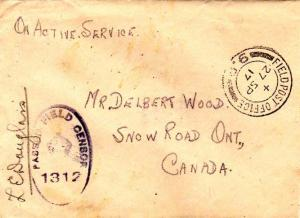 Canada Soldier's Free Mail 1917 Field Post Office, 9.P 9th Canadian Brigade W...