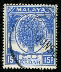Malaya - Kedah SC#71 Sheaf of Rice, 15c, cancelled