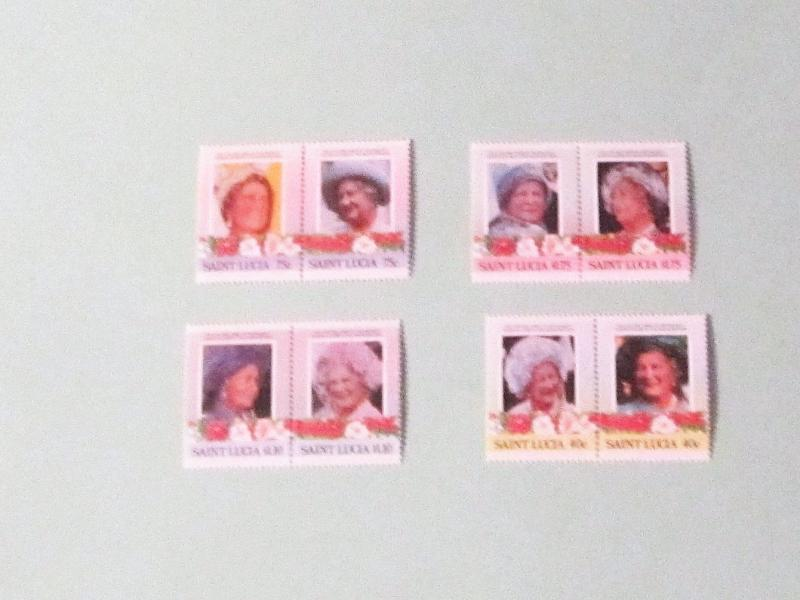 St. Lucia - 782-85, MNH Set (Pairs). Queen Mother, 85th Birthday. SCV - $1.55