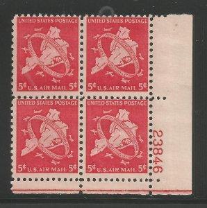 Lot # A101  Scott # 5c NY Air Mail Plate Block