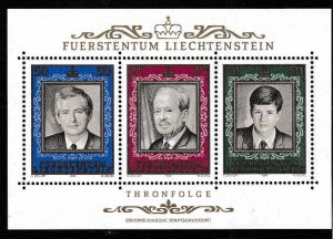 Liechtenstein 1970,'85,'88.  Scott 471, 816, 885. Three Small Sheet...