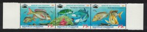 New Caledonia Fish strip of 3v SG#1461-1463 MI#1489-1491