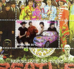 Chad 2009 THE BEATLES MINI COOPER Deluxe s/s Perforated Mint (NH)