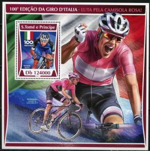 SAO TOME 2017  100th ANNIVERSARY ITALIAN CYCLING  SOUVENIR SHEET MINT NH