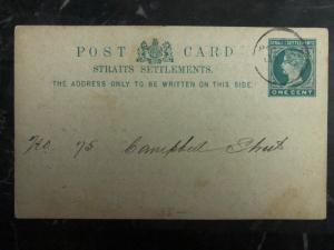 1892 Penang Straits Settlements Postal Stationary Cover Municipal Taxes