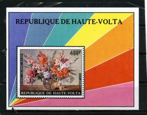 UPPER VOLTA 1974 Sc#C202 PAINTINGS/FLOWERS S/S MNH