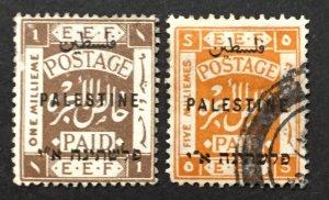 Palestine 1920 #15,19, Overprint, Used.