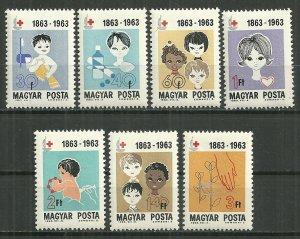 1963 Hungary 1532-8  International Red Cross Centennial C/S MNH