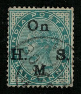 India, Half Anna, Overprint: On H.M.S. Watermark: Star (T-5830)