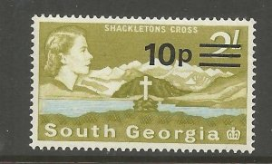 SOUTH GEORGIA 27 MNH, SHACKLETON'S CROSS, SURCHARGED