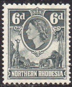 Northern Rhodesia 1953  6d grey-black MH