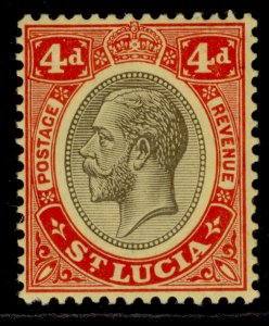 ST. LUCIA GV SG83a, 4d black & red/yellow, M MINT.
