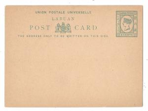 Labuan 1881 UPU Postal Stationery Card QV 4c Buff HG 1 Unused