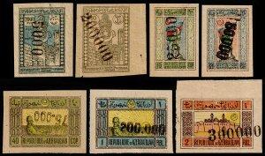 Azerbaijan Scott 39, 48, 57-59 (#59 Inv. Ovprt.), 61-62 (1922-23) Mint NH F-VF W