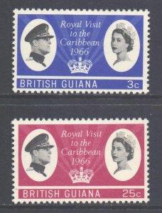 British Guiana Scott 299/300 - SG376/377, 1966 Royal Visit Set MH*