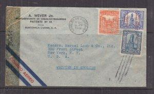GUATEMALA, 1944 censored airmail cover, Guatemala City to USA, 1c., 3c., 15c.