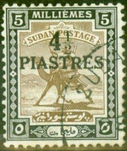 Sudan 1941 4 1/2p on 5m Olive-Brown & Black SG79 Fine Used (1)