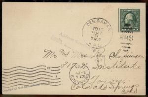 USA 1911 DENVER AMARILLO TR7 RPO Railroad Colorado Springs Cover 90072