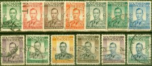 Southern Rhodesia 1937 Set of 13 SG40-52 Average Used