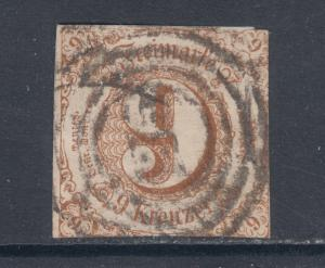 Thurn & Taxis Sc 55 used 1862 9kr bister Numeral, sound & Fine