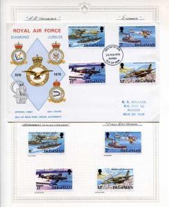 Isle Of Man RAF Diamond Jubilee Cover Ramsey FDC Cancel