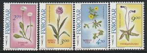 1988 Faroe Islands - Sc 169-72 - MNH VF - 4 single - Flowers