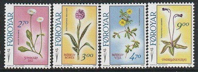 1988 Faroe Islands - Sc 169-72 - MNH VF - 4 single - Flowers