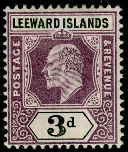 LEEWARD ISLANDS SG33, 3d dull purple & black, VLH MINT. Cat £25. WMK MULT CA.