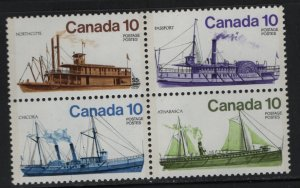 Canada 703A Block of 4, MNH, 1976 Inland Vessels