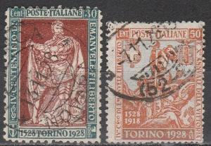 Italy #203-4 F-VF Used CV $33.25  (S1801)