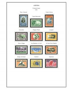 COLOR PRINTED LIBERIA [CLASS.] 1860-1940 STAMP ALBUM PAGES (59 illust. pages)
