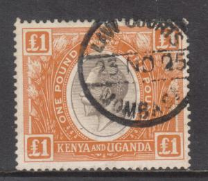 Kenya Uganda #37 Very Fine Used With Fiscal Cancel
