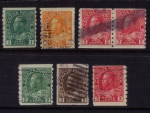 Canada Sc 125-130 Used A Complete SetPerf 8 Vertical &  includes A Pair F-VF