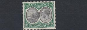 DOMINICA  1923 - 33   S G  71    1/2D  GREEN & BLACK     MH