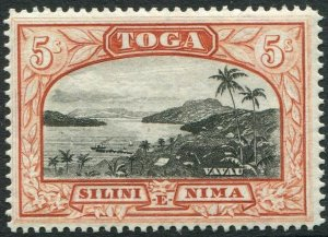 TONGA-1943 5/- Black & Brown-Red Sg 82 UNMOUNTED MINT V48424