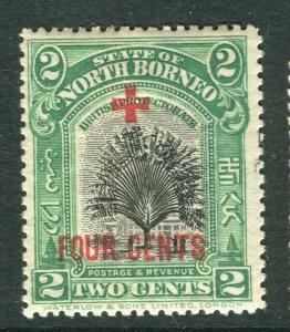 NORTH BORNEO; 1918 early Red Cross FOUR CENTS surcharge Mint hinged 2c.