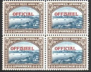 SOUTH WEST AFRICA 1945-50 6d OFFICIAL block of 4 MNH SG022 cat £50........25642y
