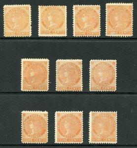 Prince Edward Islands SG34 1c Orange as a range of shades M/M