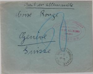 1940s France Concentration Internment Camp de Recebedou Prisoner Cover Red Cross
