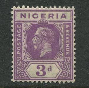 Nigeria -Scott 25 - KGV Definitive -1921 - MLH - Single 3p Stamp