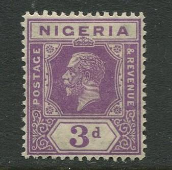 Nigeria -Scott 25 - KGV Definitive -1921 - MLH - Single 3p Stamp