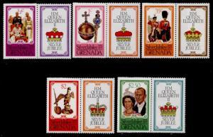 Grenada 788-92 perf 12 + labels MNH Queen Elizabeth Silver Jubilee, Horse