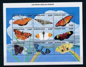 [30468] Burkina Faso 1998 Butterflies Schmetterlingen Papillons  MNH Sheet