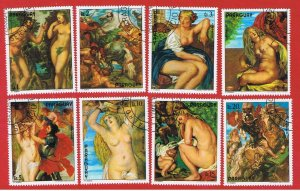 Paraguay #1710a-g #1711  VF used  Paintings  Free S/H