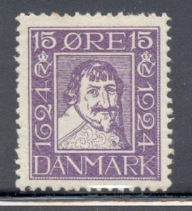 Denmark Sc 170 1924 15 o violet Christian IV stamp mint