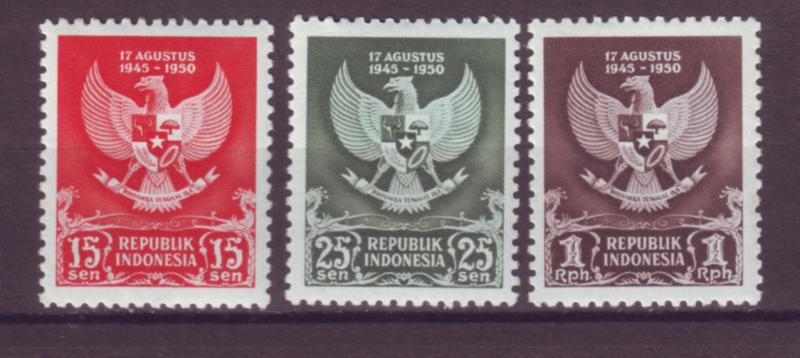 J21021 Jlstamps 1950 indonesia set mh #359-61 arms small writing on reverse