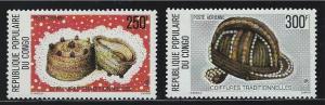 Congo SC C234-C235 Headdress-Two Straw Caps-Beaded Cap MNH 1977