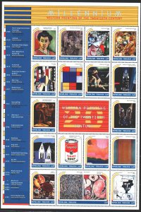Togo. 1999. Small sheet 2923-39. Millennium painting. MNH.