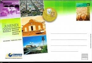 PS-203 ARGENTINA 2009 P STATIONARY FAUNA SHEEPS PHIL EXPO TIERRA FUEGO UNUSED