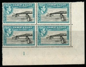 GILBERT & ELLICE IS. SG51 1938 1/= BROWNISH BLACK & TURQUOISE-GREEN BLK OF 4 MNH
